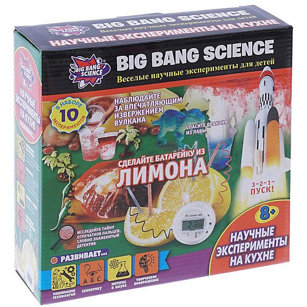 Набор для опытов Big Bang Science Научные эксперименты на кухнеХимия и физика<br>Характеристики товара:<br><br>• комплектация: 30 элементов<br>• в комплекте: ракета из пенопласта, ложечка, мерный стакан, 3 стакана, 14 г лимонной кислоты, 2 прозрачные наклейки, 3 картотеки отпечатков пальцев, черный пластик, 2 цинковых листа, электронные часы, соединительный провод, 6 цветных таблеток, пластиковый динозавр, 2 деревянных палочки, макет вулкана, 14 г дрожжей, инструкция<br>• размер упаковки: 22х7х22 см<br>• вес: 317 г<br><br>Набор представляет собой познавательную игру, в ходе которой ребенок может узнать больше о химической и физической науках. Десять экспериментов в развлекательной форме наглядно покажут яркие реакции, которые можно произвести с помощью предметов, имеющихся на каждой кухне. Комплект дает новые знания, развивает сенсорику и творческое воображение.