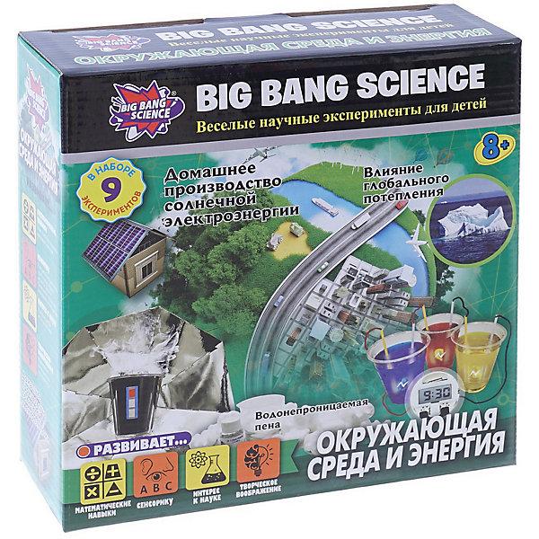 Набор для опытов Big Bang Science Окружающая среда и энергияХимия и физика<br>Характеристики товара:<br><br>• комплектация: 17 элементов<br>• в комплекте: пластиковый стакан, бумага для фона, мерный стакан, пластиковая чашка, палочка для перемешивания, лист черной бумаги, маленькая пластиковая чашка, термометр, картонный домик, светодиодная лампочка, панель из серебристой фольги, Д-лимонен, пакет пены, табличка, 2 мела, солнечная панель, инструкция<br>• размер упаковки: 22х7х22 см<br>• вес: 333 г<br><br>Набор представляет собой познавательную игру, в ходе которой ребенок может узнать больше о физической науке. Девять развлекательных экспериментов научат домашнему производству солнечной энергии, познакомят с глобальным потеплением и другими природными явлениями. Комплект дает новые знания, развивает сенсорику и творческое воображение.