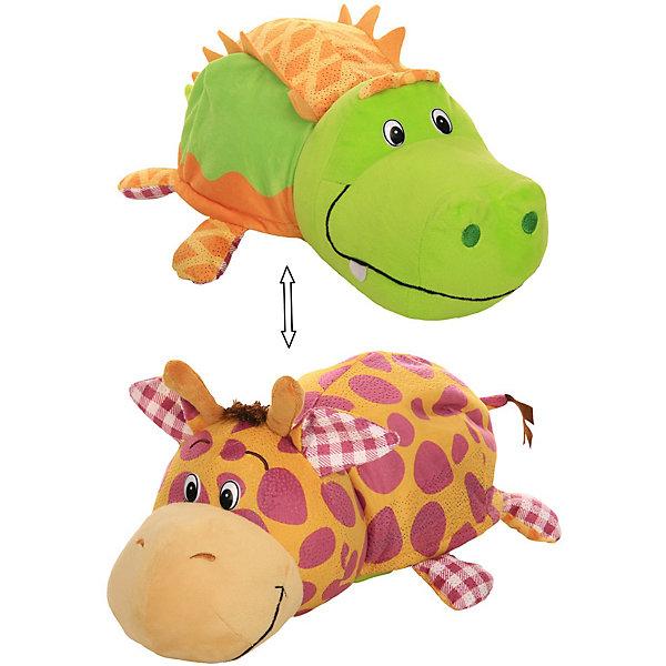 1Toy Мягкая игрушка-вывернушка 1toy Ням-Ням Крокодильчик с ароматом яблочного пирожка-Жираф Арахисовой