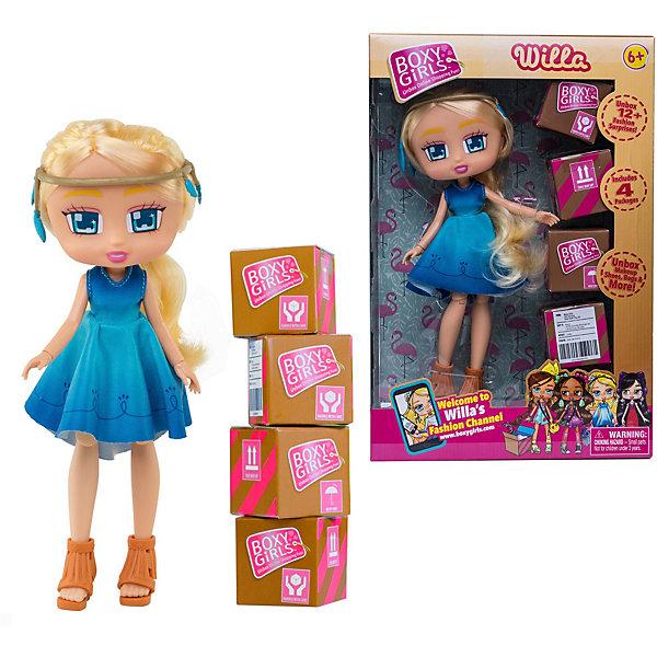 Кукла 1Toy Boxy Girls Уилла 20 см, с аксессуарамиКуклы<br>Характеристики товара:<br><br>• материал: пластик, текстиль<br>• в комплекте: кукла, 4 коробочки с аксессуарами<br>• высота куклы: 20 см<br>• серия: Boxy Girls<br>• упаковка: картонная коробка с блистером<br>• вес в упаковке: 303 гр<br>• размер упаковки: 76,2х17,8х27,7 см<br><br>Уилла очень любит делать заказы в магазинах. И вот ей привезли четыре коробочки, в которых лежат её покупки. Внутри лежат различные аксессуары: наклейки, ожерелье, карточки. Распаковывать новые вещи всегда интересно и весело. Кукла одета в голубое платье и коричневые туфельки, а на голове красивый ободочек. Ручки и ножки подвижные, колени и кисти сгибаются. Длинные мягкие волосы можно расчёсывать. У неё красивые глазки квадратной формы, которые светятся от радости, аккуратный носик и ротик. Набор изготовлен из качественных и безопасных материалов.