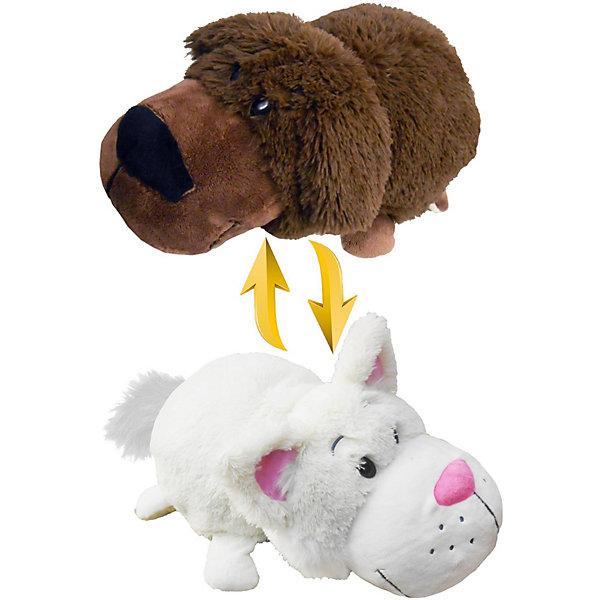 1Toy Мягкая игрушка-вывернушка 1toy Шоколадный лабрадор-Белый кот, 40 см