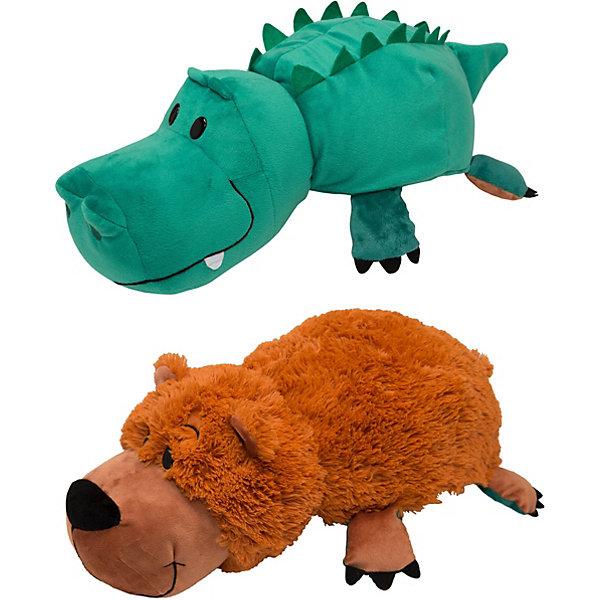 1Toy Мягкая игрушка-вывернушка 1toy Медведь-Крокодил, 40 см
