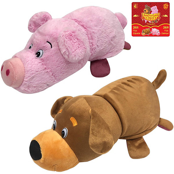 Мягкая игрушка-вывернушка 1toy Собака-Свинья, 35 см