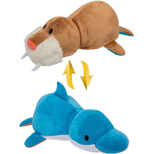 1Toy Мягкая игрушка-вывернушка 1toy Дельфин-Морж, 40 см