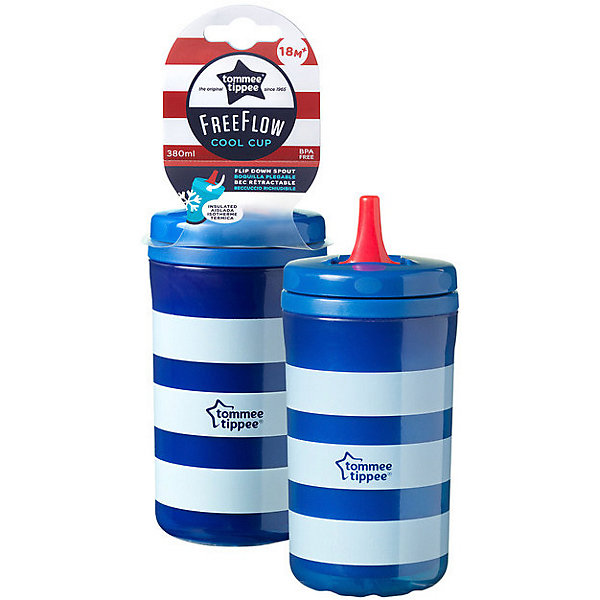 Tommee Tippee Стакан-поильник Tommee Tippee Cool c 18 мес, 380 мл, синий бутылочка для кормления tommee tippee advanced 260 мл с усиленным антиколиковым клапаном и индикатором температуры медл поток голубой