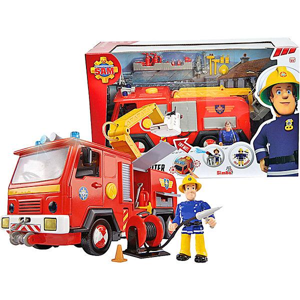 Simba Пожарный Сэм Машина со звуком, светом и функцией воды, 28см + фигурка, 6/6 игровой набор с фигурками simba пожарный сэм пожарная машина