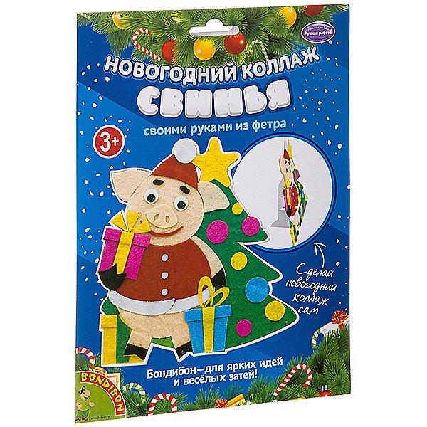 Bondibon Набор для творчества Новогодний коллаж. Свинья.