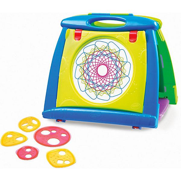 Набор для рисования Grown Up 4 в 1Наборы для рисования<br>Характеристики:<br><br>• материал: пластик<br>• в комплекте: доска, спиральная панель (1 шт.), спиральных шестеренок (5 шт.), цветных карандаша (4 шт.), ластик<br>• размер упаковки: 35х7,5х3,7 см<br>• вес: 1,4 кг<br><br>Универсальная настольная доска для игры, творчества и обучения детей. С двух сторон расположены поверхности для рисования мелками и цветными маркерами. Все легко стирает специальная губка-ластик. Сверху находятся 2 зажима-бумагодержателя, а по бокам – отделения для канцелярии. С помощью набора спиралей ребята легко создадут красивые иллюстрации из узоров. Для переноски и хранения конструкция складывается в компактный чемоданчик с ручками.