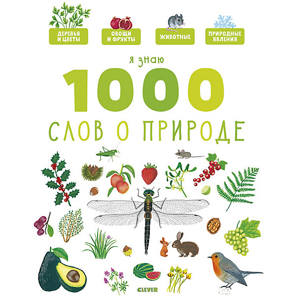 Купить Главная книга малыша. Я знаю 1000 слов о природе., Clever, Россия, Унисекс