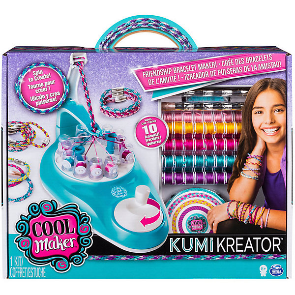 Студия для плетения браслетов и фенечек Kumi KreatorНаборы для создания украшений и аксессуаров<br>Характеристики товара:<br><br>• в комплекте: швейная машинка, 88 катушек ниток в 88 цветах, 10 застежек, аксессуары<br>• размер упаковки: 8х36х28 см<br>• вес: 630 г<br><br>Детский набор для творчества представляет собой студию со швейной машинкой для плетения фенечек и браслетов. Чтобы создать украшение с неповторимым узором нужно вставить катушки в специальное отверстие и крутить ручку по часовой стрелке до тех пор, пока длина не станет оптимальной.