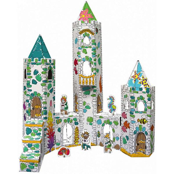 Сборная раскраска CartonHouse  Замок РусалкиНаборы для раскрашивания<br>Характеристики:<br><br>• матерал: картон<br>• размер игрушки: 36х43х24 см<br>• размер упаковки: 41х28х3 см<br>• вес: 500 гр<br><br>Большой домик Русалочки с фигурками морских героев. Все элементы собираются путем сгибания деталей по линиям и соединения их в пазы, без ножниц и клея. Для того чтобы оживить игрушку, нужно раскрасить сам замок и его обитателей.<br>Выполнен из плотного, экологически чистого картона.
