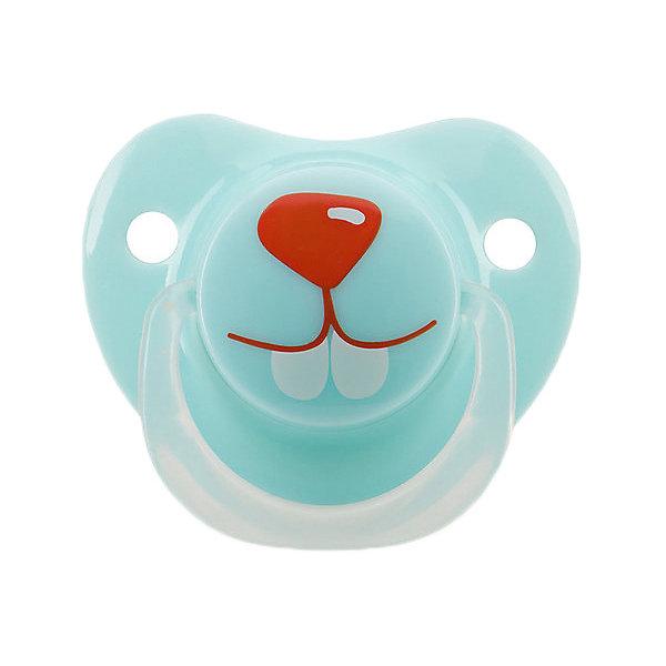 Силиконовая ортодонтическая пустышка Happy Baby Кролик с 12 мес, голубаяПустышки<br>Характеристики:<br><br>• материал: полипропилен, силикон<br>• в наборе: пустышка, колпачок<br>• особенности: не содержит Бисфенол А, есть отверстия для вентиляции в носогубнике<br>• вес упаковки: 25 г<br>• размер упаковки: 5х11х14 см<br>• страна бренда: Великобритания<br><br>Пустышка имеет ортодонтическую форму для правильного развития полости рта малышей. Аксессуар без запаха, не взаимодействует со слюной, гипоаллергенен. Пустышка пригодна для паровой стерилизации. Ее удобно хранить и брать с собой благодаря плотно прилегающему защитному колпачку.