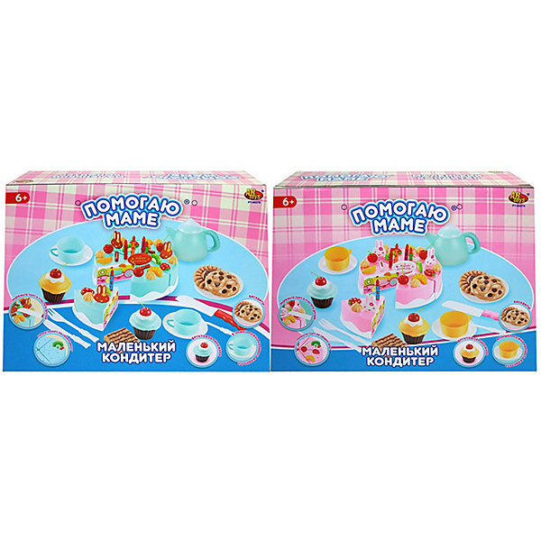 Игровой набор ABtoys Помогаю Маме Маленький кондитерИгрушечные продукты питания<br>Характеристики товара:<br><br>• материал: пластик<br>• в комплекте: торт, чайник, чашки, блюдца, приборы, пирожные, аксессуары<br>• упаковка: картонная коробка<br>• вес в упаковке: 438 гр<br>• размер упаковки: 28х10х21 см<br><br>В комплекте 54 предмета для проведения чаепития или дня рождения. Красивый тортик, который можно украсить самостоятельно и различные аксессуары для создания праздника. Тортик можно разрезать на кусочки, они скреплены на липучках. Девочка может сама накрыть стол и устроить торжественное мероприятие для кукол и игрушек. Набор изготовлен из качественных и безопасных материалов.