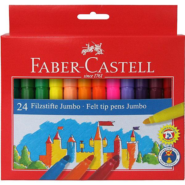 фломастеры faber castell connector 60цв смываемые соединяемые колпачки пластик уп европодв Faber-Castell Фломастеры Faber-Castell Jumbo, 24 цвета, смываемые