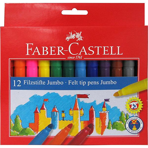 фломастеры faber castell connector 60цв смываемые соединяемые колпачки пластик уп европодв Faber-Castell Фломастеры Faber-Castell Jumbo, 12 цветов, смываемые