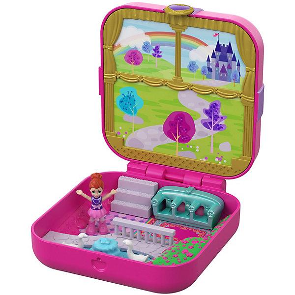 Игровой набор Polly Pocket Мини-мир Замок маленькой принцессыИгровые наборы с фигурками<br>Характеристики товара:<br> <br>• материал: пластик<br>• в комплекте: шкатулка, мини-кукла, аксессуары<br>• упаковка: блистер на картоне<br>• страна бренда: США<br> <br>В красивой шкатулке спрятан настоящий мини-мир с куколкой и тематическими аксессуарами. Некоторые элементы набора подвижны, а на верхней крышке съёмные картинки, под которыми находится другое изображение местности. Небольшой размер игрушки позволяет брать её с собой куда угодно.