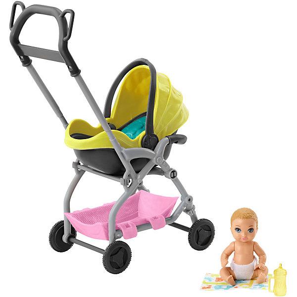 Игровой набор Barbie Скиппер няня Малыш с жёлтой коляской, Mattel, Индонезия, Женский  - купить со скидкой