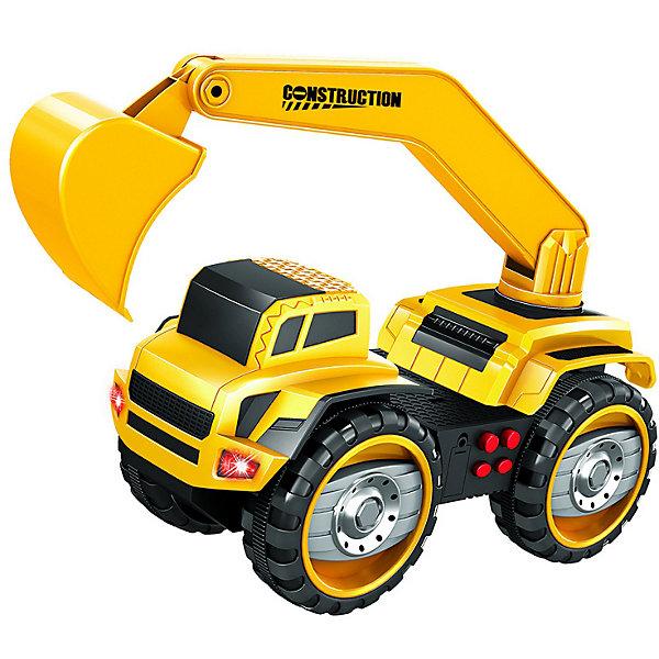 Набор машинок Handers Большие колёса Самосвал и экскаваторМашинки<br>Характеристики:<br><br>• материал: пластик<br>• в наборе: 2 машинки<br>• размер игрушки: 22 см<br>• особенности: фрикционный механизм, световые и звуковые эффекты<br>• тип батареек: 6хAG13<br>• наличие батареек: в комплекте<br>• вес упаковки: 1 кг<br>• размер упаковки: 51,5х18,5х13 см<br>• страна бренда: Россия<br><br>Набор представляет спецтехнику с подвижными элементами. Игрушки имеют детализированный внешний вид, светятся и издают характерные для транспорта звуки. Большие колеса быстро крутятся, хорошо проходят препятствия. Машинки едут самостоятельно. Сделано из качественных материалов.
