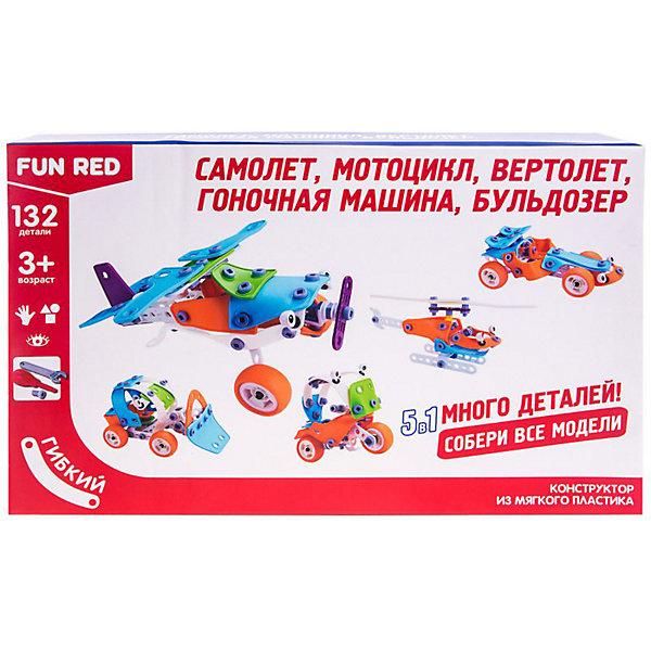 Fun Red Гибкий конструктор Fun Red Транспорт 5 в 1, 132 детали конструктор fun red танистрофей 22 детали разноцветный