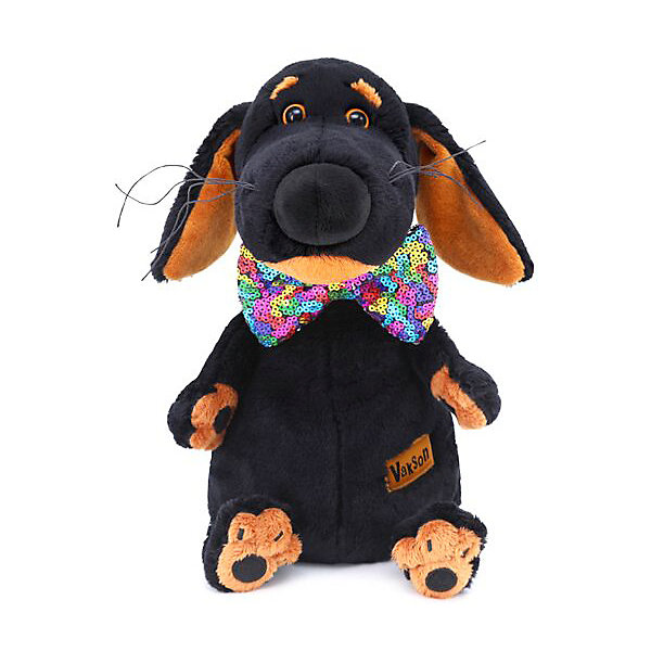 Budi Basa Мягкая игрушка Собака Ваксон в галстуке-бабочке пайетках, 29 см