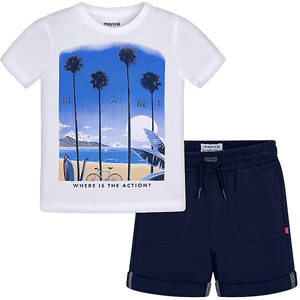 Купить Комплект Mayoral: футболка и шорты, Индия, синий/белый, 92, 98, 128, 104, 122, 134, 116, 110, Мужской