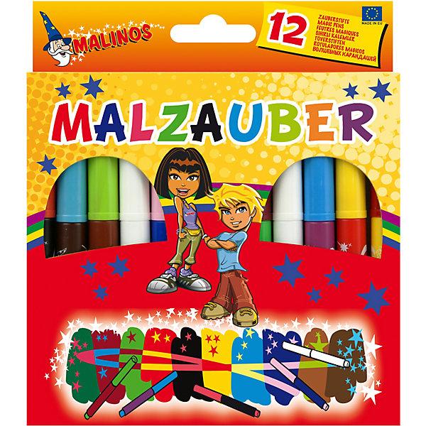 Набор двухцветных фломастеров Malinos Malzauber меняющих цвет. (10 шт.+ 2 волшебных белых фломастера.)Фломастеры<br>Характеристики:<br><br>• в наборе: 10 цветных + 2 белых фломастера<br>• особенность: меняющие цвет<br>• чернила на водной основе<br>• материал корпуса: полипропилен<br>• упаковка: картонная коробка<br>• размер упаковки: 17х15х2 см<br>• вес упаковки: 120 г<br>• страна бренда: Германия<br><br>Проведите белым фломастером по рисунку, выполненому цветным фломастером,  - изображение изменит цвет на цвет колпачка фломастера. А если написать что либо цветным фломастером, а сверху воспользоваться цветным, то нижнее надпись проявится на глазах. <br><br>Органичная форма изделия и качественный пластик предотвратит скольжение и усталость детской руки. Чернила в составе не токстичны и легко отстирываются с любых видов тканей.