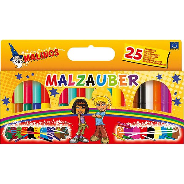 Набор: двухцветные (меняющие цвет) фломастеры и фломастеры со стираемым цветом Malinos Malzauber, 25 шт., Разноцветный