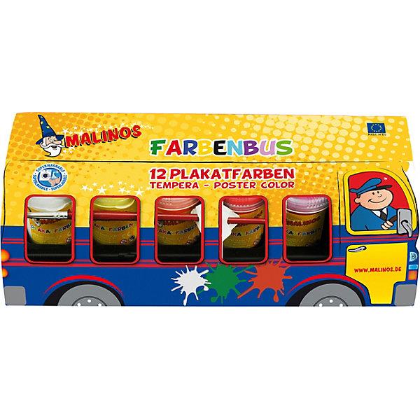 Купить Набор темперных красок Автобус Malinos Farben Bus 12 цветов, Германия, разноцветный, Унисекс