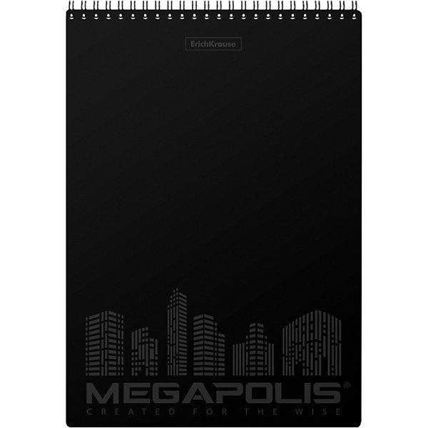 Купить Блокнот на спирали ErichKrause Megapolis , чёрный, А4, 80 листов, клетка, Erich Krause, Россия, разноцветный, Унисекс