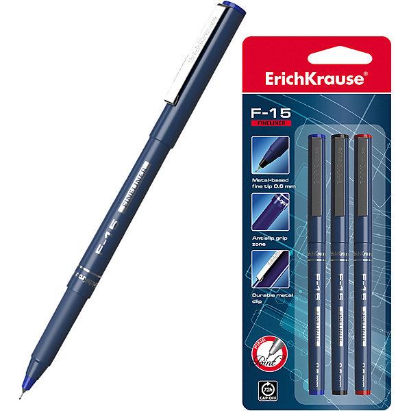 Erich Krause Набор капиллярных ручек Erich Krause F-15 3 цвета, 3 шт набор шариковых ручек erich krause ultra l 10 цвет синий черный 4 шт