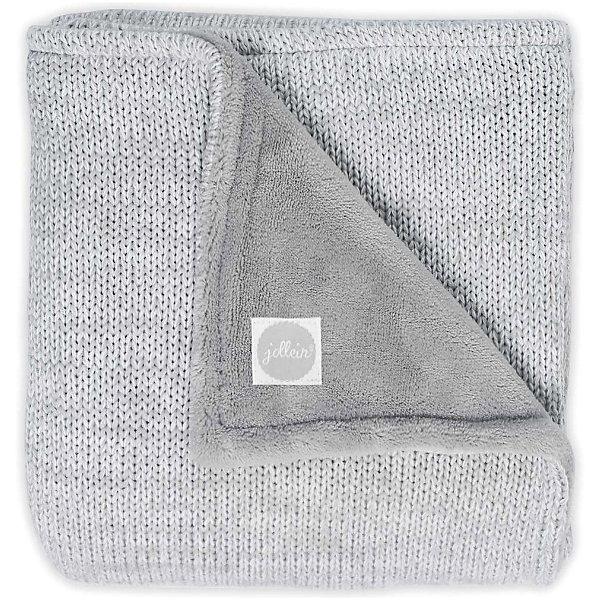 Купить Вязаный плед с мехом Jollein Melange knit soft grey, 75х100 см, Китай, серый, Унисекс