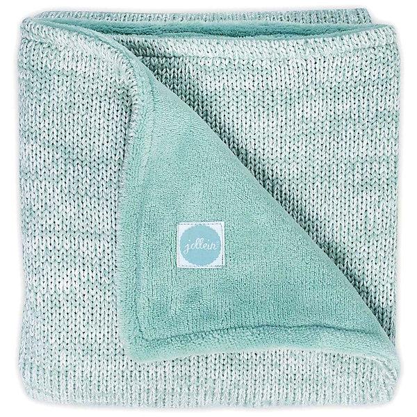 jollein Вязаный плед с мехом Jollein Melange knit soft green, 75х100 см варежки  перчатки и шарфы jollein шарф confetti knit