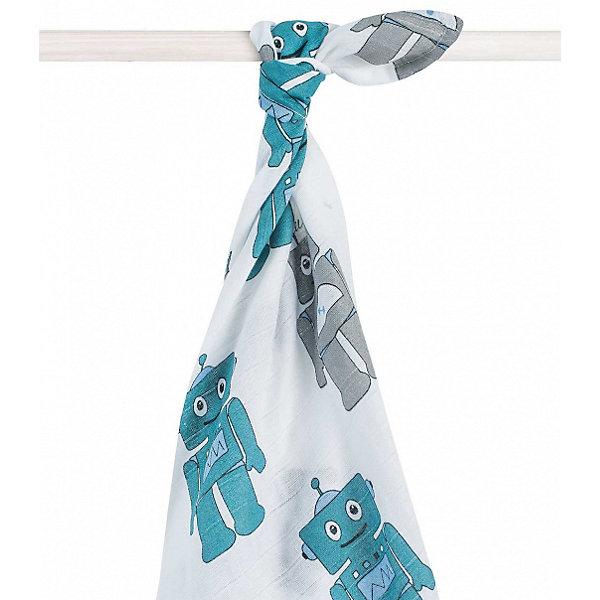 jollein Муслиновая простынка-полотенце Jollein, синие роботы, XL 140x200 см