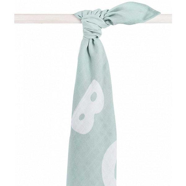 jollein Муслиновая простынка-полотенце Jollein, серо-зелёная, XL 140x200 см jollein комплект муслиновых пеленок jollein 70х70 см 4 шт серо зеленый