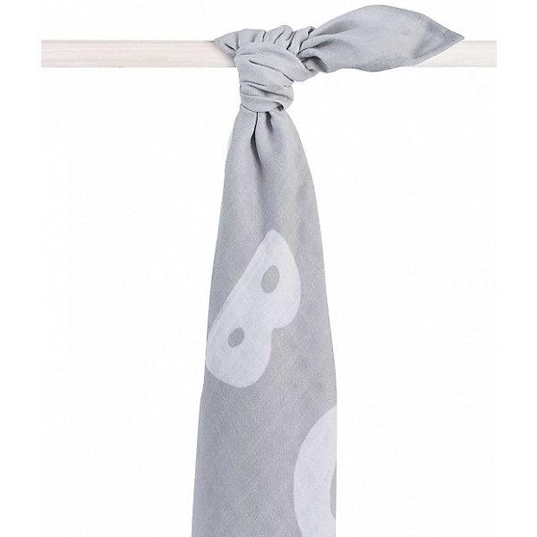 jollein Муслиновая простынка-полотенце Jollein, серая, XL 140x200 см