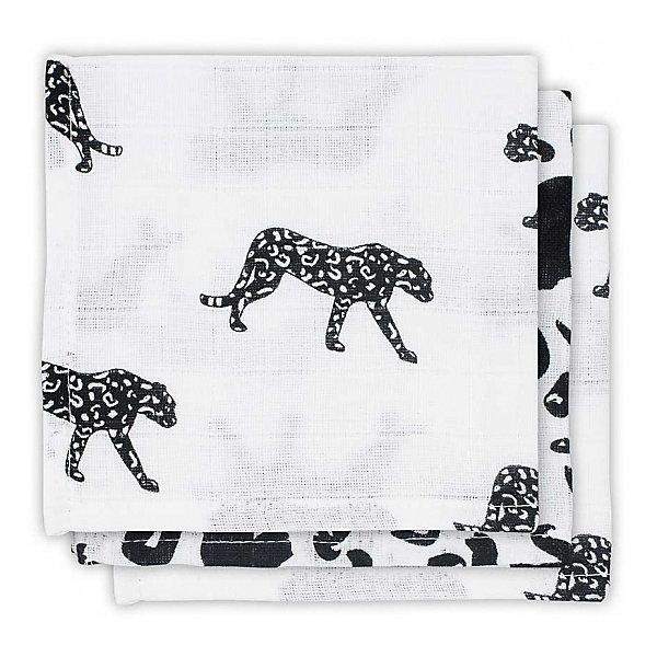 jollein Комплект салфеток Jollein 3 шт., бело-чёрный леопард, 15х21 см