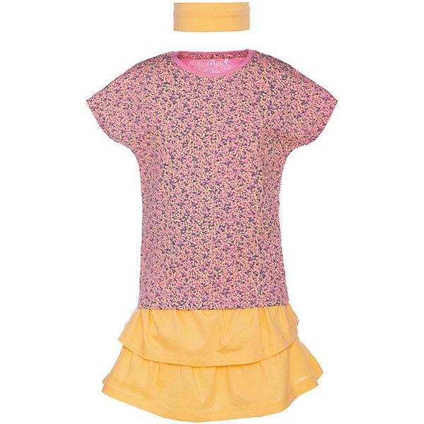 Комплект: Футболка, юбка и повязка Name it для девочкиКомплекты<br>Характеристики товара:<br><br>• состав ткани: 100% хлопок<br>• сезон: лето<br>• в комплекте: футболка, юбка, повязка на голову<br>• страна бренда: Дания<br><br>Легкий летний комплект для жары. Футболка декорирована принтом, линия спинки чуть удлинена, цельнокройный короткий рукав. Мягкая окантовка по горловине и рукавам. Юбка на резинке, два яруса оборок. Эластичная повязка на голову.