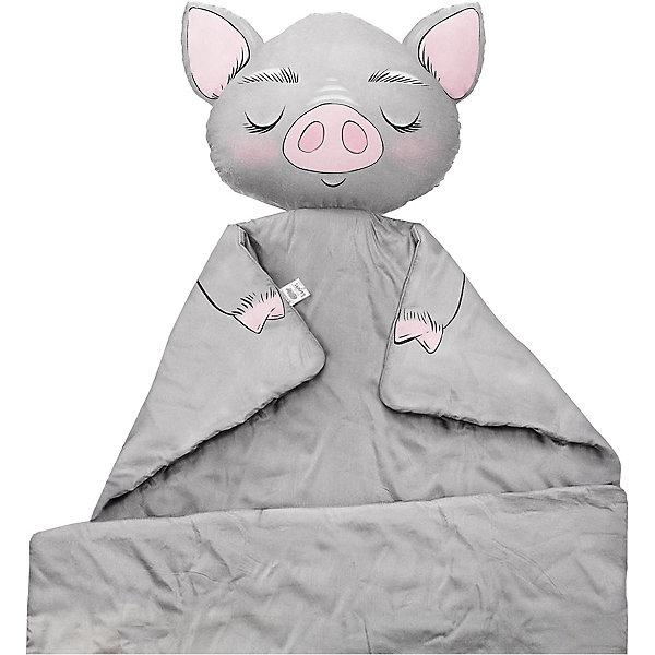 Купить Плед Ligra Свинка , 100x150 см, серый, Ligrasweethome, Россия, Женский