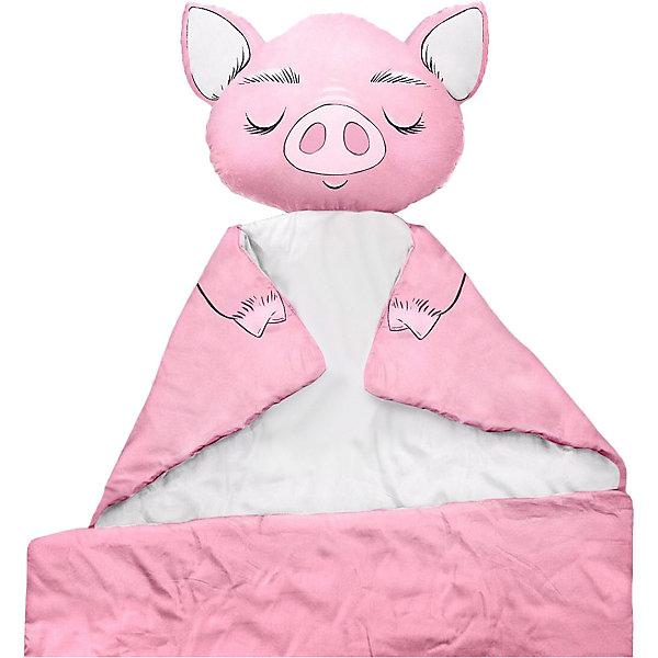 Купить Плед Ligra Свинка , 100x150 см, розовый, Ligrasweethome, Россия, розовый/белый, Женский