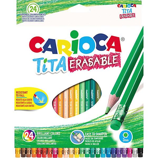 Carioca Набор цветных карандашей Carioca Tita Erasable шестигранные, 24 цвета набор карандашей carioca mini tita 42323 12 цветов