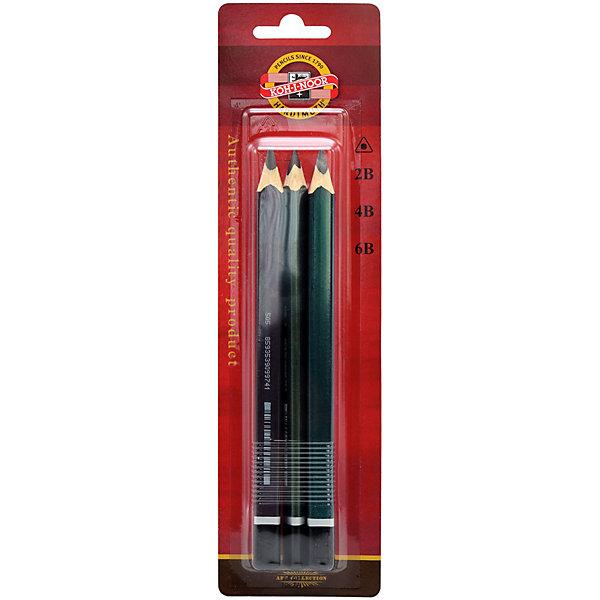 Koh-i-noor Набор чёрнографитных карандашей KOH-I-NOOR Triograph, 3 шт. набор угольных карандашей koh i noor gioconda 3 шт