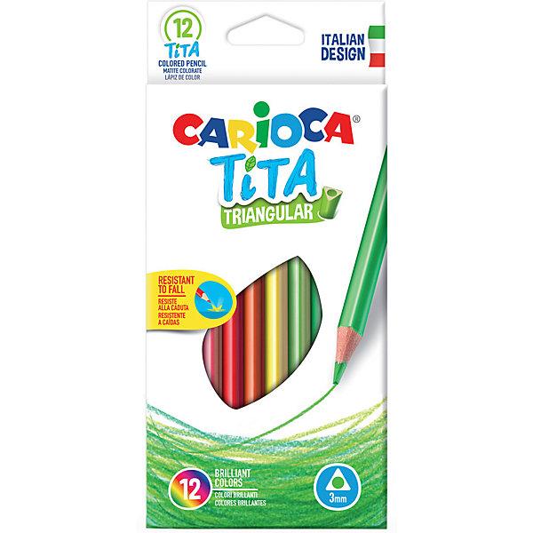Carioca Набор цветных карандашей Carioca Tita трёхгранные, 12 цветов набор карандашей carioca bicolor 43031 48 цветов 24 шт