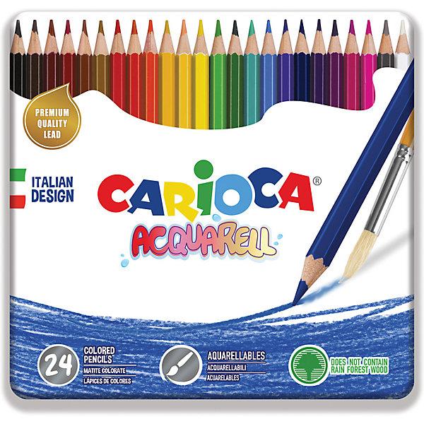 Carioca Набор цветных карандашей Carioca Acquarell, 24 матовых цвета carioca набор смываемых восковых карандашей baby 8 цветов