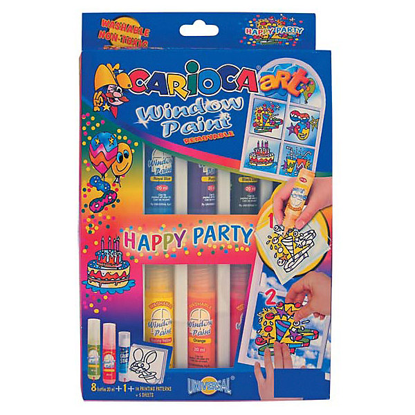 Купить Набор красок для рисования на окнах Carioca Happy Party , 8 цветов, Италия, Унисекс