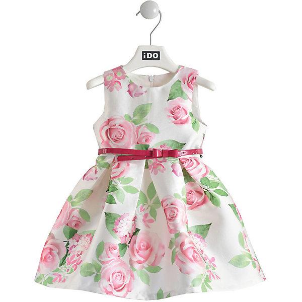 Нарядное платье iDOПлатья и сарафаны<br>Характеристики товара:<br><br>• состав ткани: 100% полиэстер<br>• сезон: круглый год<br>• застёжка: скрытая молния на спинке<br>• страна бренда: Италия<br><br>Нарядное платье с красивым цветочным рисунком подходит для торжественных случаев. Дополнено съёмным контрастным ремешком с бантиком. Пышная юбка собрана в крупную складку. Изделие без рукавов, круглая горловина.