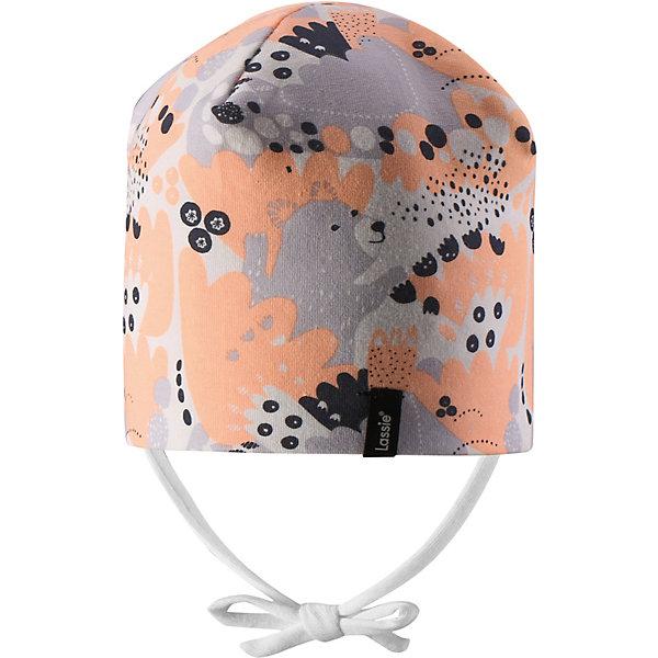 Шапка-бини Lassie для девочкиШапки и шарфы<br>Характеристики товара:<br><br>• состав ткани: 95% хлопок, 5% эластан<br>• подкладка: 95% хлопок, 5% эластан<br>• утеплитель: без дополнительного утепления<br>• сезон: демисезон<br>• застёжка: завязки во всех размерах<br>• страна бренда: Финляндия<br><br>Мягкая шапочка из эластичного и приятного материала комфортно облегает и надёжно защищает от ветра и прохлады. Легко фиксируется под подбородком и не натирает. Ткань тянется и не сдавливает. Декорирована принтом.