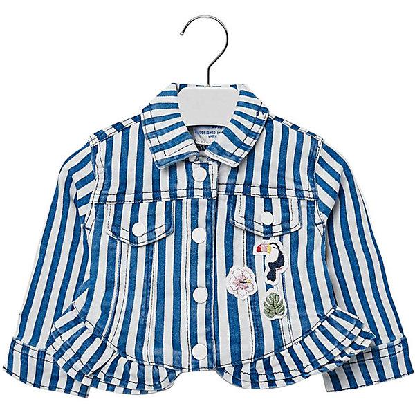 Жакет Mayoral для девочкиВерхняя одежда<br>Характеристики товара:<br><br>• состав ткани: 98% хлопок, 2% эластан<br>• сезон: демисезон<br>• застёжка: кнопки<br>• манжеты рукавов на кнопке<br>• страна бренда: Испания<br><br>Куртка украшена полосатым узором и нашивками. Отложной классический воротник. По низу отделана оборками. Имитация нагрудных карманов с клапанами. Высокое содержание натурального материала позволяет телу дышать.
