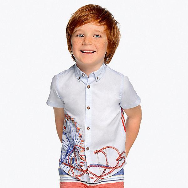 Купить Рубашка Mayoral для мальчика, Индия, голубой, 128, 122, 98, 110, 104, 116, 134, 92, Мужской