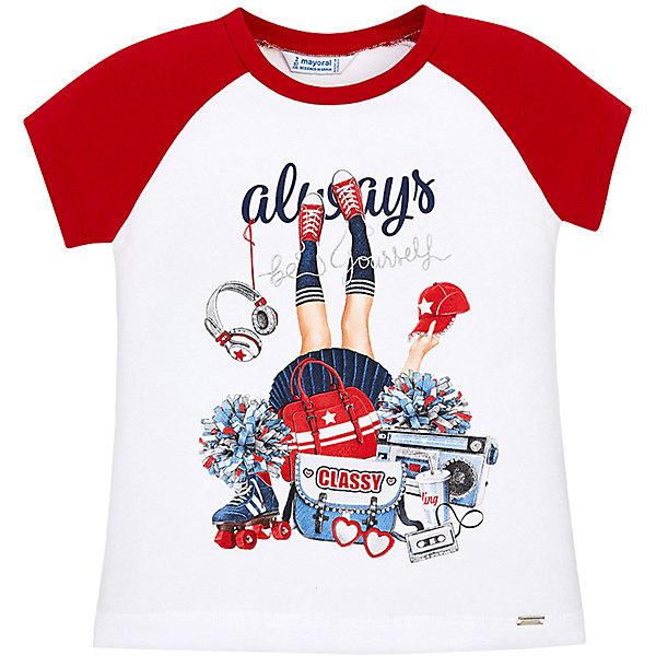 Футболка Mayoral для девочкиФутболки, поло и топы<br>Характеристики товара:<br><br>• состав ткани: 95% хлопок, 5% эластан<br>• сезон: лето<br>• застёжка: без застёжки<br>• футболка с коротким рукавом<br>• в размерах на 2-3 года могут быть незначительные отличия в декоративных элементах<br>• страна бренда: Испания<br><br>Футболка с рукавами и круглой горловиной контрастного цвета. Имеет прямой крой, эластичная мягкая ткань и комфортная посадка обеспечивают свободу движений. Декорирована ярким и стильным принтом.