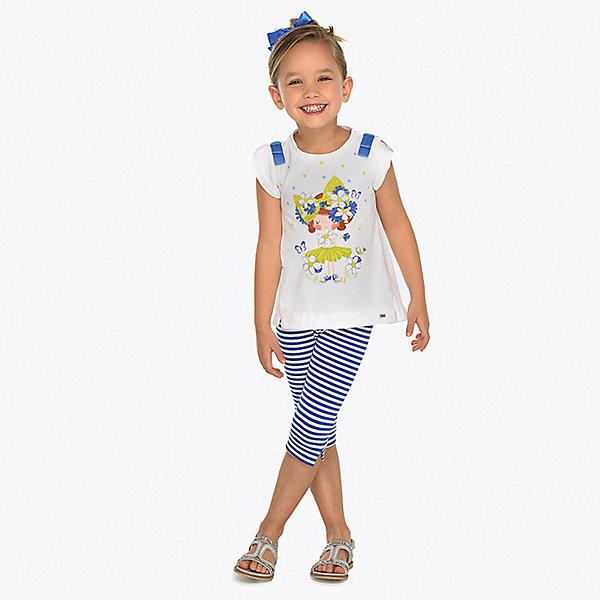 Комплект: футболка и леггинсы Mayoral для девочкиКомплекты<br>Характеристики товара:<br><br>• состав ткани: 95% хлопок, 5% эластан<br>• сезон: лето<br>• страна бренда: Испания<br><br>Футболка расширенного кроя с короткими рукавами и круглой горловиной. Украшена контрастными вставками на плечах, по бокам небольшие разрезы. Леггинсы на резинке, ткань с узором в полоску. Длина чуть ниже колена. Комплект хорошо тянется и обеспечивает комфортную посадку.